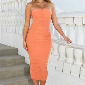 Oh Polly Ruched Mesh Midaxi Dress